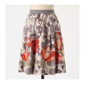 Anthropologie Floreat Glowing Leaf Skirt